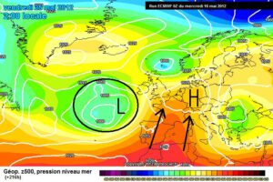 hogedrukgebied weermodel (warmer weer)