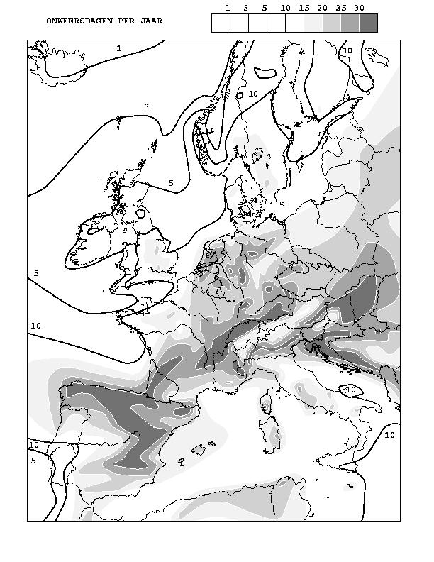 meeste onweer
