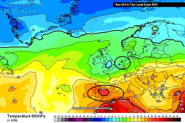 GFS -dinsdag -850 hPa -temperatuur