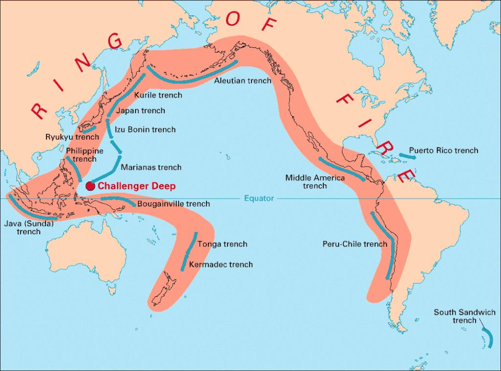 Op deze kaart is de Ring van Vuur aangeduid. In deze zone is er veel vulkanische activiteit.