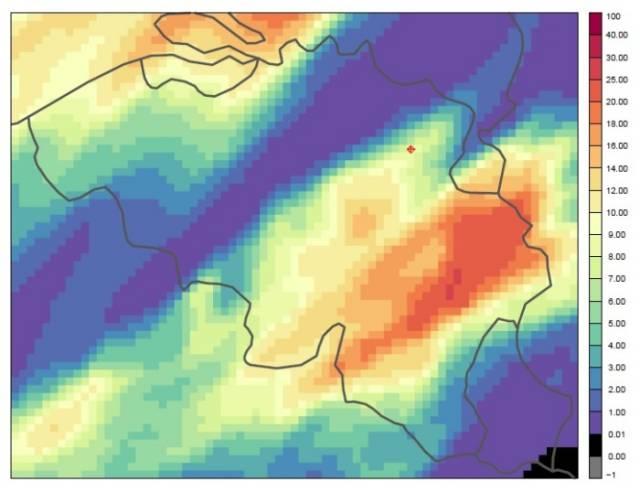 output weermodel alaro tijdens pukkelpopstorm