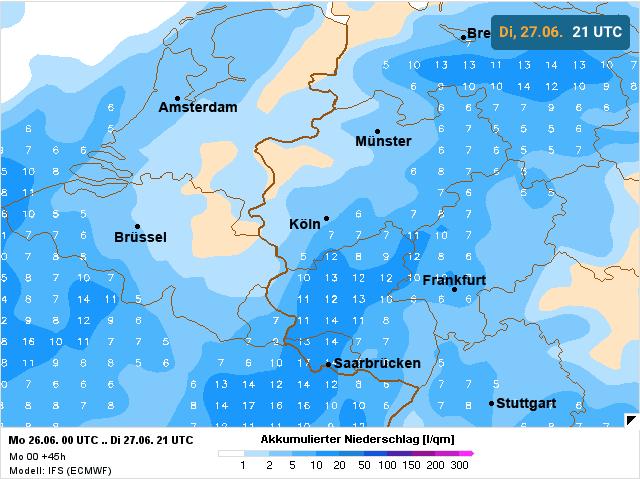 berekening neerslag volgens europees weermodel
