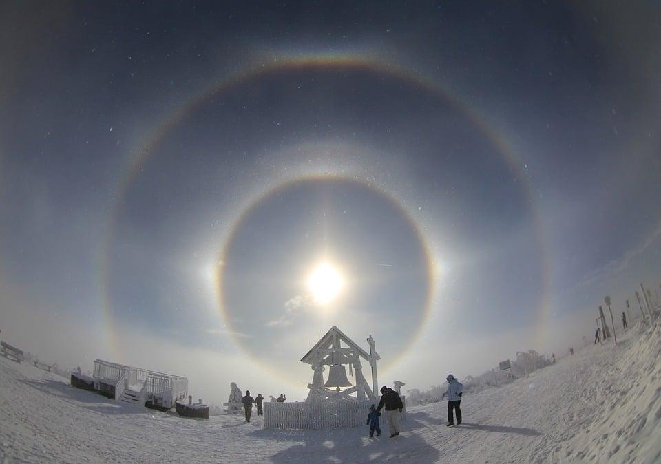 Optische effecten rond een halo