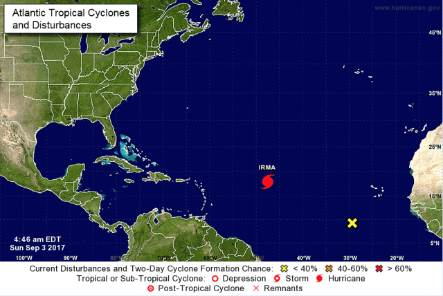 locatie orkaan irma op atlantische oceaan