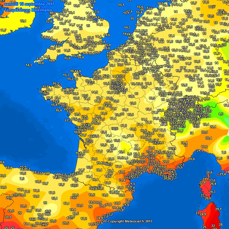 Op zaterdag 16 september kregen de westelijke gebieden in de Benelux hun koudste dag tot nu toe. Ook daar werden maximale waarden gemeten rond 13 à 14 graden. In het oosten werd het toen lokaal 17 graden.