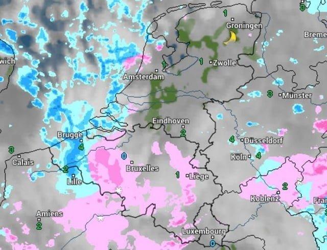 radarbeeld eerste sneeuw voor Vlaanderen
