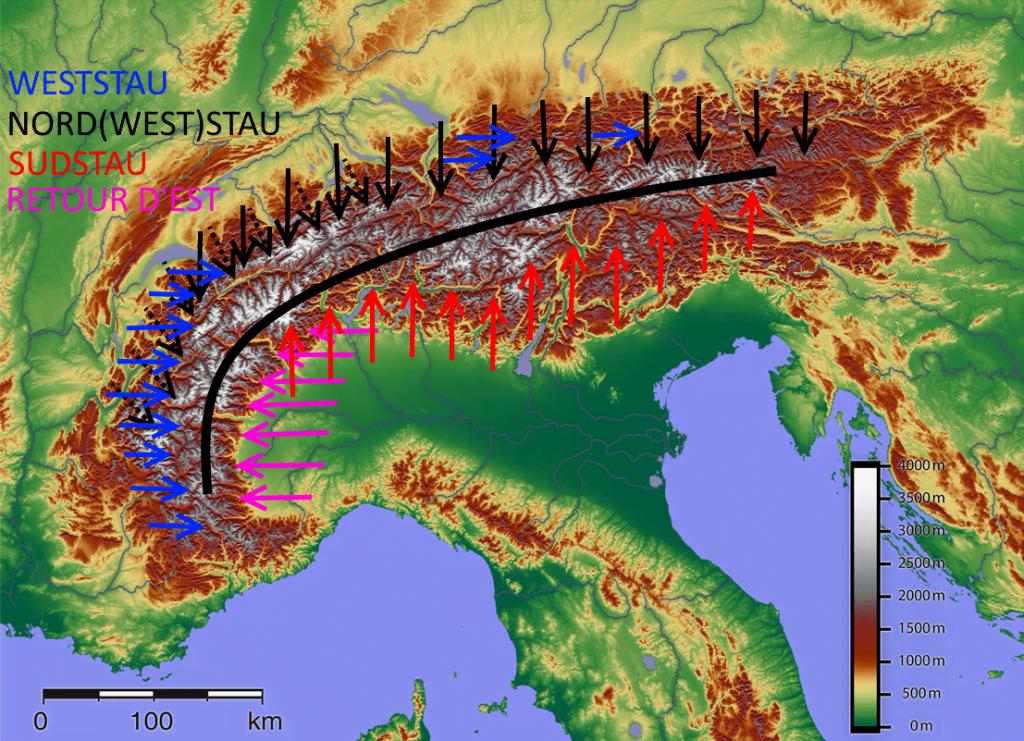 Overzichtskaart van de stau gebieden in de Alpen.