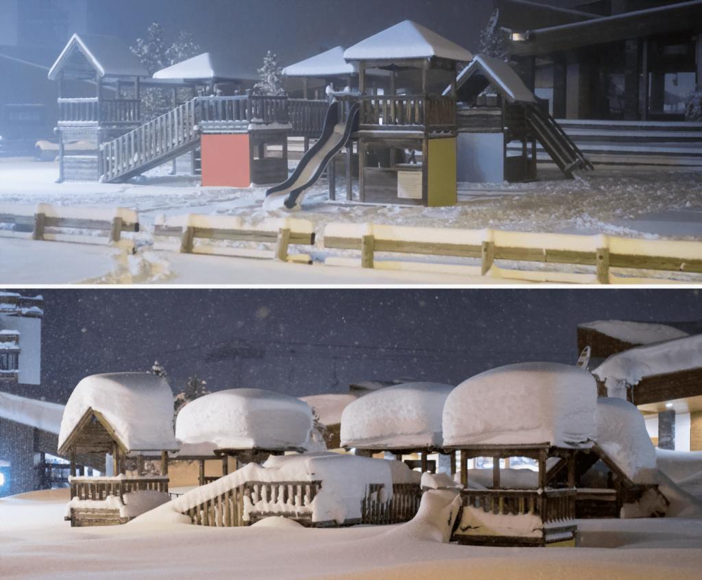 Sneeuwval voor en na
