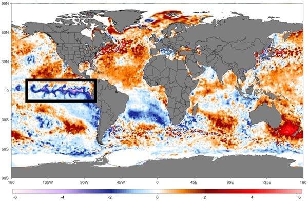 Afwijking zeewater temperaturen
