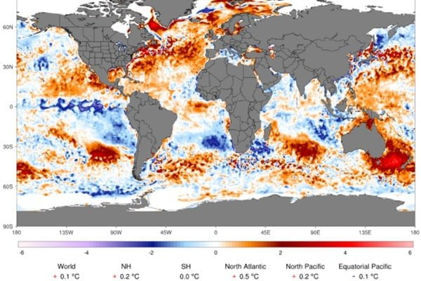 Afwijking van de temperatuur van het zeewater