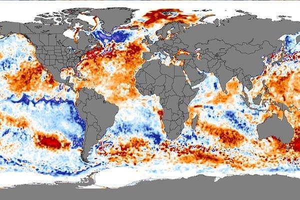 Zeewater temperatuur afwijking.