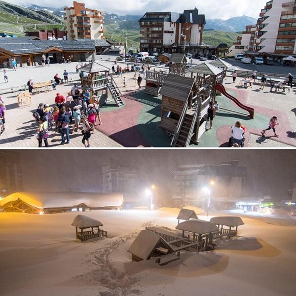 Voor en na foto uit Val Thorens.