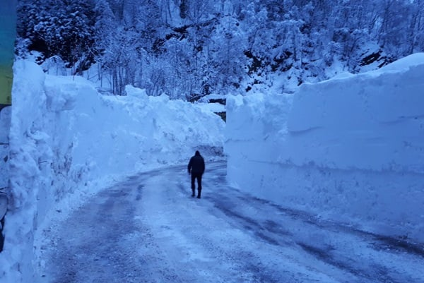 Sneeuwmuren in Vaujany.