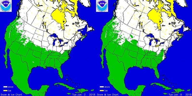 Sneeuwdek Noord-Amerika