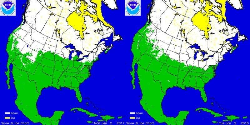 Sneeuwdek in Noord-Amerika