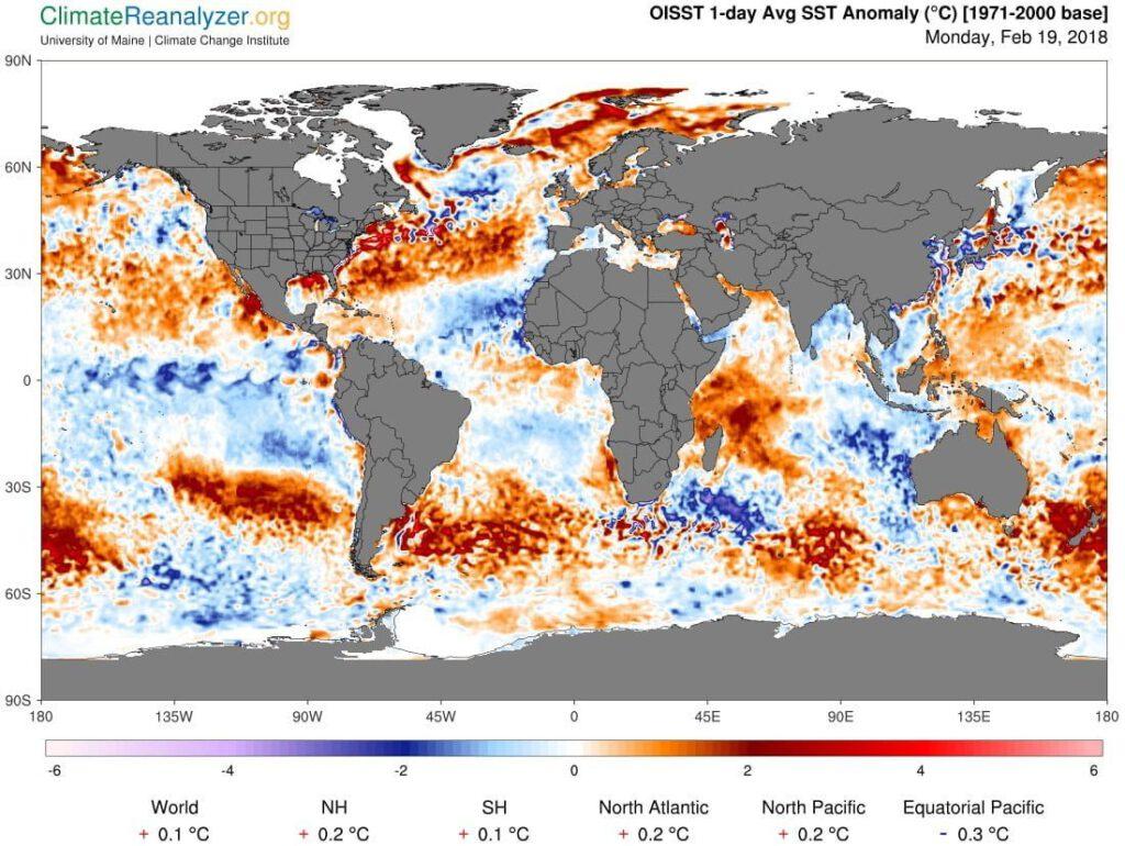 Zeewater temperatuur anomalie.