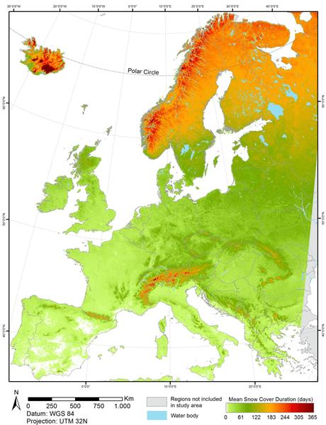 Deze kaart toont de gemiddelde sneeuwbedekkingsduur in Europa