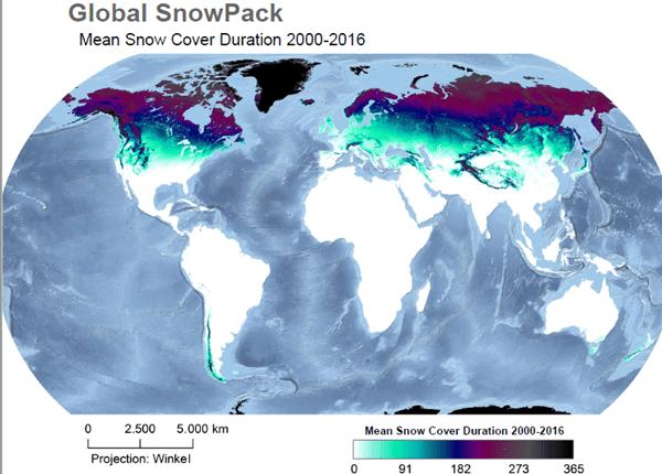 Gemiddelde sneeuwdek duur in de wereld tussen 2000 en 2016.