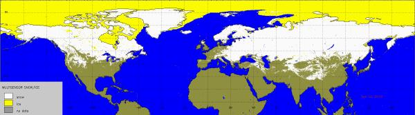 Sneeuwdekomvang op het noordelijk halfrond.