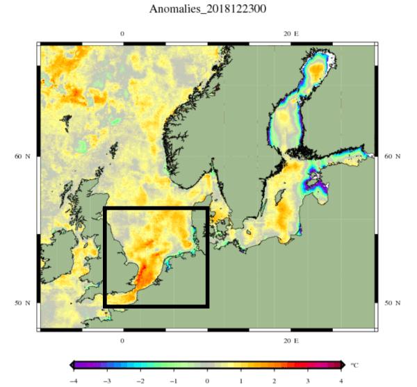 Zeewater anomalie in Noordwest-Europa.