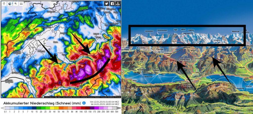 Het Berner Oberland vormt de volgende dagen een grote blokkade waardoor er in de loefzijde zeer veel Stau-neerslag zal vallen.