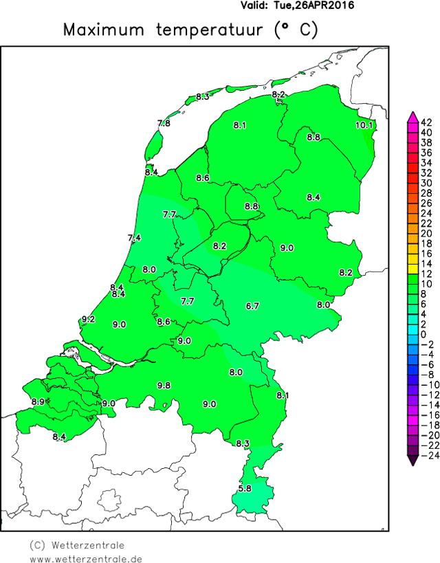 maximumtemperatuur 26 april 2016