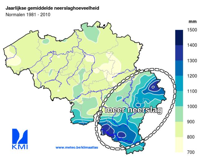 In de Ardennen valt meer neerslag dan in de andere gebieden in België.