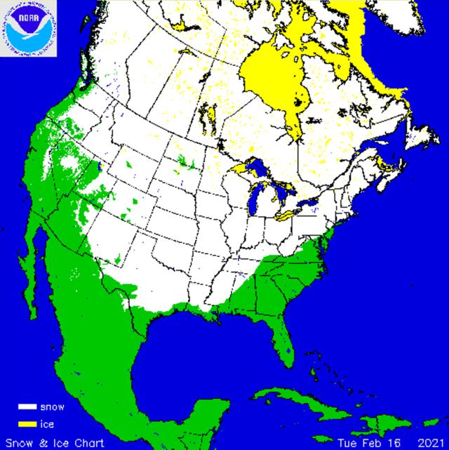 Actuele sneeuwbedekking Noord-Amerika