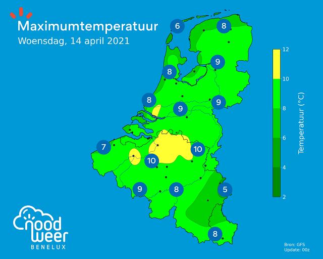 Maximumtemperatuur tijdens Brabantse Pijl 2021