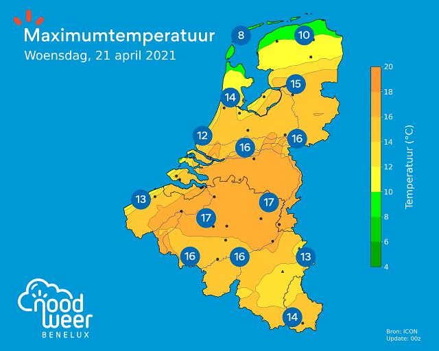 Maximumtemperatuur woensdag 21 april 2021