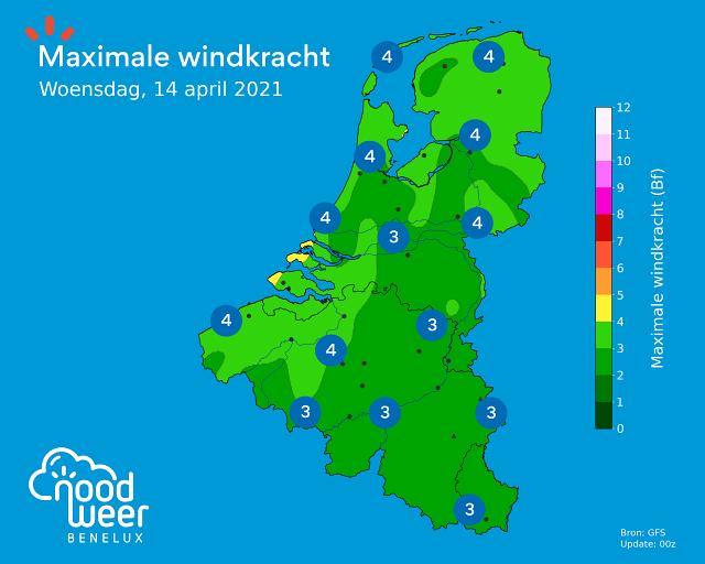 Maximale windkracht tijdens Brabantse Pijl 2021
