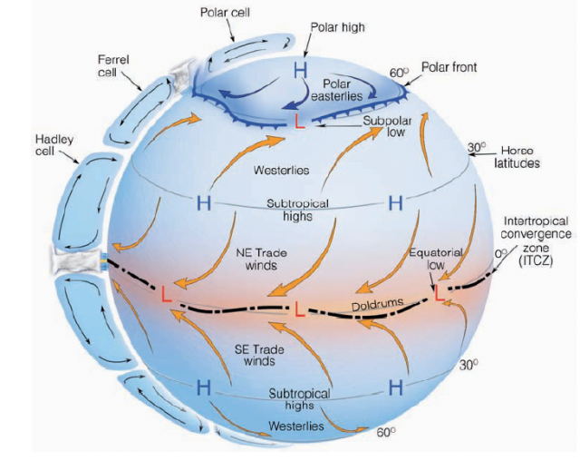 De atmosferische circulatiepatronen bepalen waar hoge en lage drukgebieden gesitueerd zijn. Het klimaat in onze regio wordt bepaald door de Ferrelcel en het polaire front