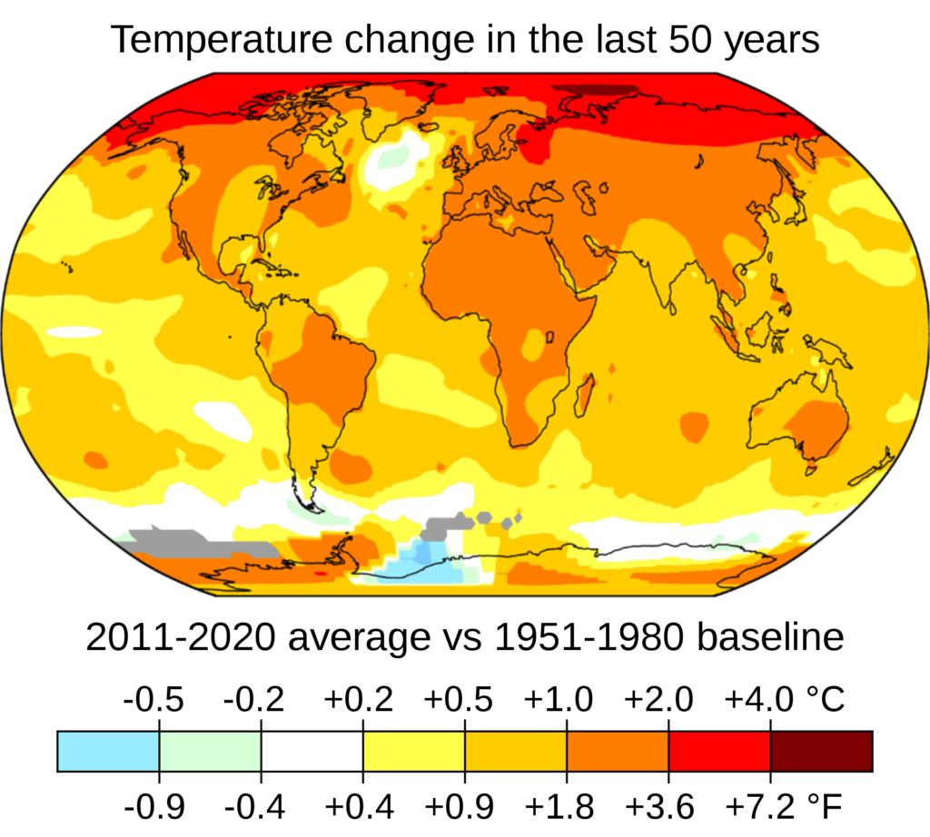 2011-2020 gemiddelde temperatuur versus 151-1980 baseline