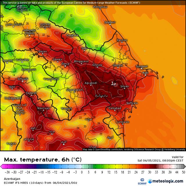 Maximumtemperatuur zaterdag 5 juni 2021