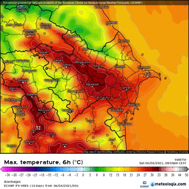 Maximumtemperatuur Formule 1 race van Azerbeidzjan