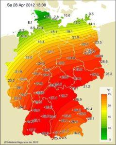 bijna 30 graden in Duitsland
