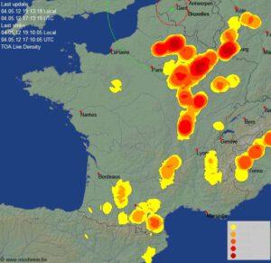 gebieden met onweer boven Frankrijk