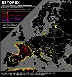 hevig onweer in Frankrijk (estofex)