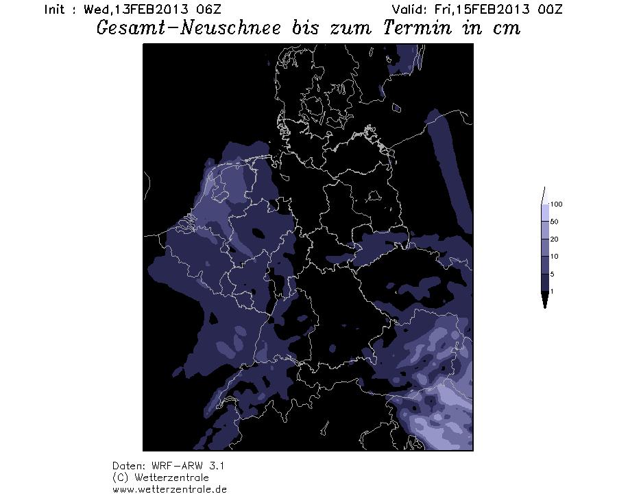 sneeuwzone op komst volgens WRF