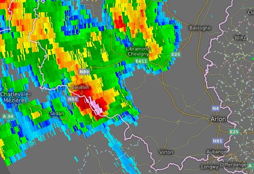 radarbeeld 7 augustus 21 uur 10 min