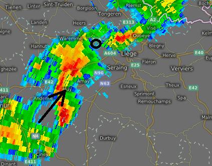 radarbeeld 8 augustus 0 uur 15 min.