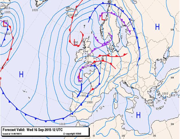 twee warmtefronten boven Europa