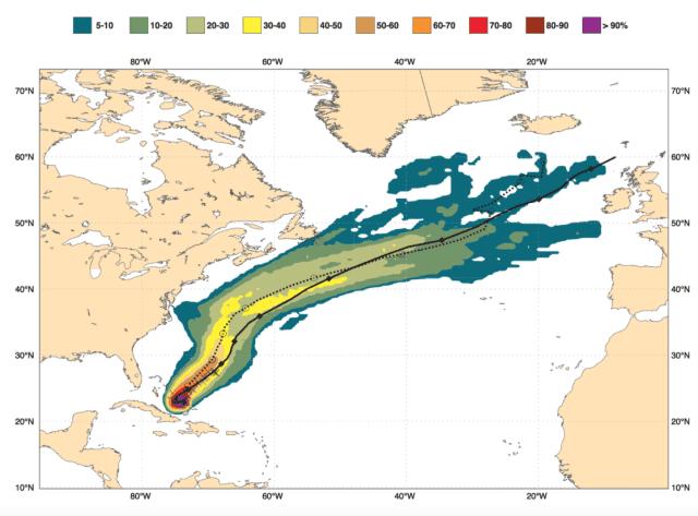 prognose orkaan joaquin door ecmwf