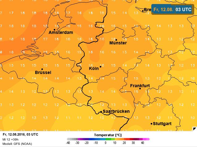 gemiddelde temperatuur naar vrijdag
