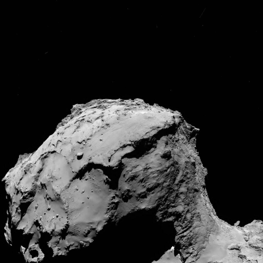 Zicht op de komeet vanop 15,5 km afstand