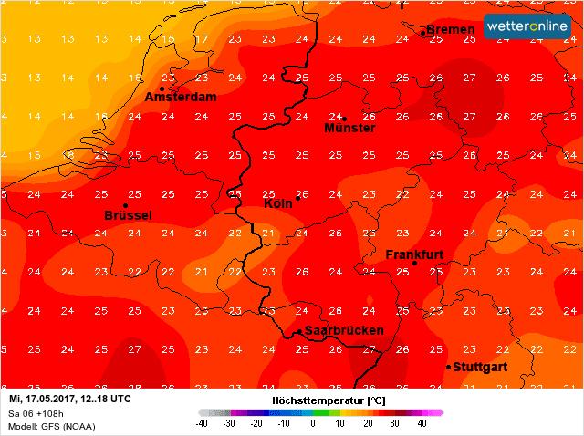 zomerse temperaturen op woensdag