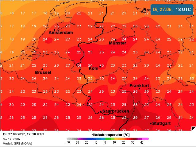temperatuur dinsdag 27 juni 2017