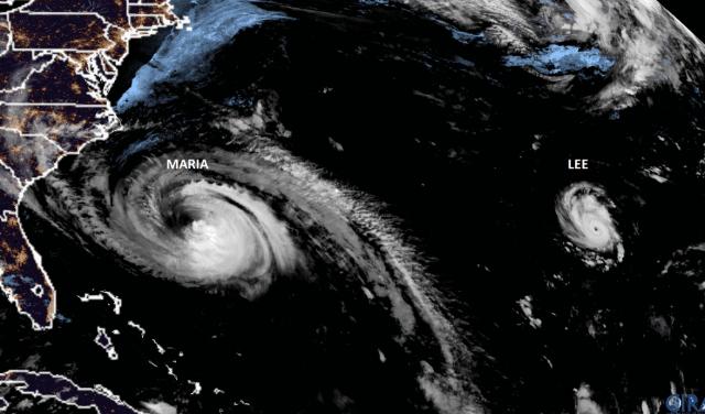 positie ex-orkanen maria en lee