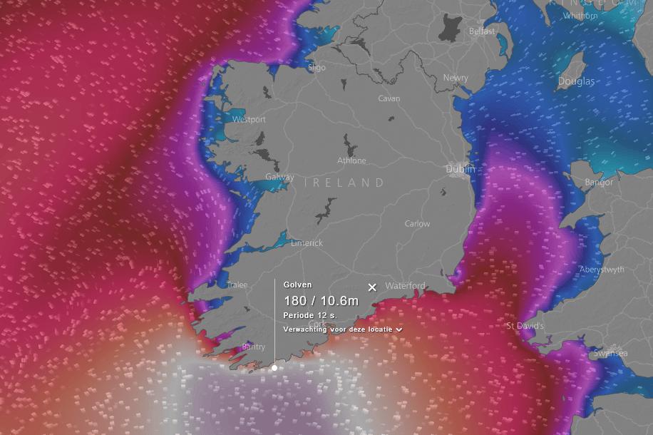 voorspelde golfhoogtes rond Ierland