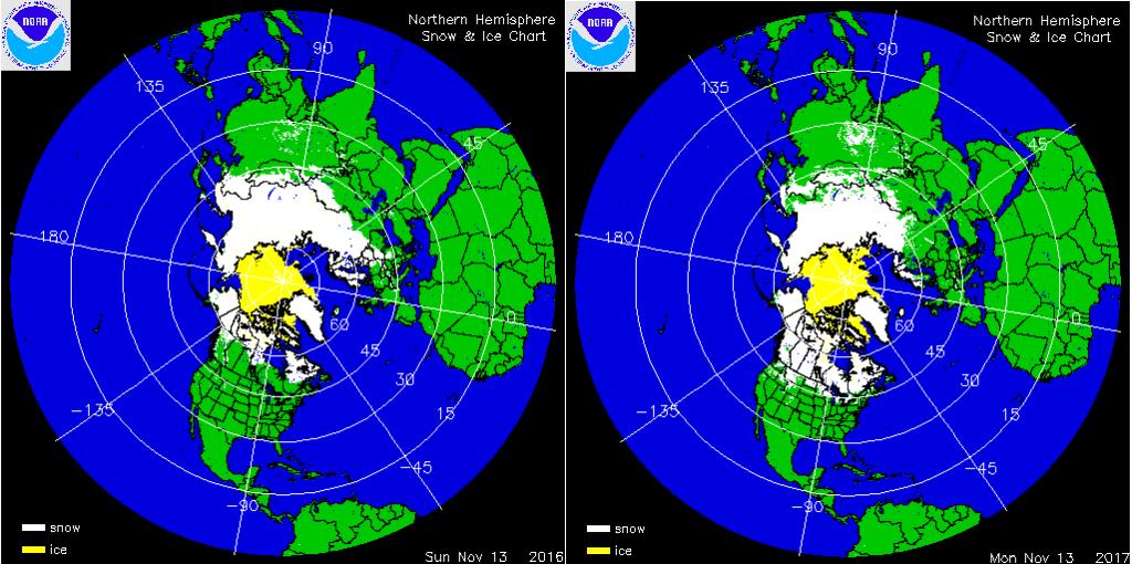 sneeuwbedekking noordelijke hemisfeer